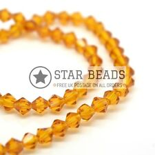 115 X Faceted Bicone Crystal Glass Beads 4x3mm - Pick Colour Topaz
