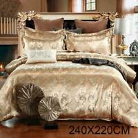 240X220CM Duvet Cover with Pillowcase Quilt Cover Bedding Set King Size Gold UK