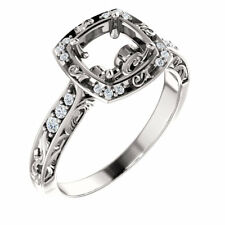 14k White Gold Princess Cut Sculptural-Inspired Halo-Style Semi Mount Wedd Ring