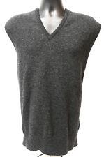 Johnstons of Elgin V-Neck Wool Men's Vest Size 50 Made in Scotland Charcoal Grey