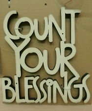 """Primitive """" COUNT YOUR BLESSINGS """" Word Art Sign 6-1/2"""" x 6-3/4"""" Cream"""