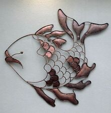 Unusual Copper Colour Metal Happy Wall Fish Art - Hand Made Bali Wall Art