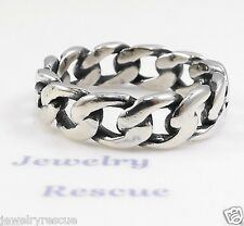 Oxidized Curb Chain Band Ring ~ .925 Sterling Silver ~ Size 12 ~NEW Unisex Men's