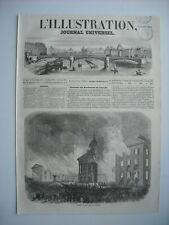 GRAVURE 1854. CANADA. INCENDIE DU PALAIS LEGISLATIF, A QUEBEC. AVEC EXPLICATIF..