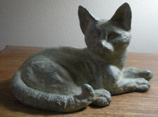 "Reclining Cat Gray Stone Cement Like Finish, Garden or Indoor Sculpture, 8"" Long"