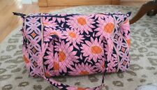 """Vera Bradley Large Duffel Weekend Bag Pink NAVY """"loves me"""" 23"""" EUC huge gorgeous"""
