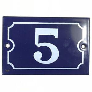 Ancien numéro de rue, Maison plaque émaillée, Bleu  N°5