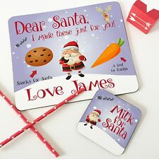 Christmas Personalised Colourful Santa Snack Placemat & Coaster Set for Kids