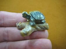(Y-TUR-LA-109) baby GREEN serpentine Turtle FIGURINE on soapstone branch carving