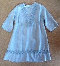 Ladies ITALIAN pretty blue ROSEMARINE 100% Linen Smock Dress Tunic Top Large 16
