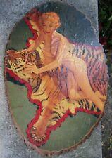 Vintage Nude 1940s-50s Pinup Art on Wood Tree Base- Tiger- Blond Marylin Monroe