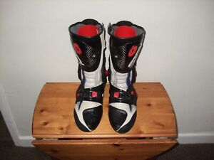 SIDI  EDITION 45 BLACK/BLUE LEATHER ARMOUR MOTORCYCLE BOOTS SIZE 6 EUR 40