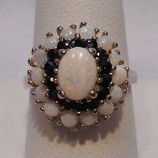 *Estate~Genuine Opal & Sapphires 925 Sterling Silver Cocktail Ring Size 9.75