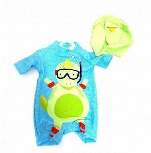 Ex Store Baby Boys Dino Dinosaur Rash Suit Swimwear & Hat  0 3 6 9 12 18 24 Mths