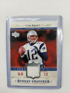 Patriots TOM BRADY UPPER DECK Rookie Debut Sunday Swatches Game-Used Jersey 2005