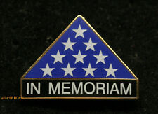 IN MEMORIAM FUNERAL LAPEL PIN HONORS FOLDED FLAG US ARMY MARINES NAVY AIR FORCE