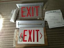 2 Vintage NOS Prescolite EXIT Sign~Twin Face with Mounting Frame