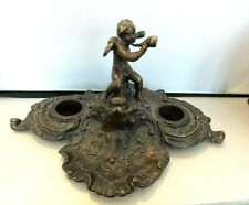 ANTIQUE BRONZE DOUBLE INKWELL WITH CUPID IN CENTER