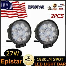2X 27W Round 12V 24V LED Spot Work Light Bar Truck Jeep 4WD Tractor SUV Offroad