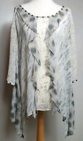 MINT VELVET (UK Size 16) Tunic Sheer Top - 100% Silk - Ruffle Waterfall Design
