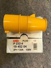 10 X 32A 110V 2p+E Plug, 3 Pin 32 Amp Industrial Yellow Plug, New Box Of 10,