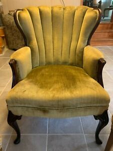 Vintage Green Wingback Chair