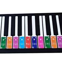 Colorful Piano Stickers Key Keyboards Transparent Removable For 49 / 37 /61 /88