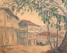 Antique impressionist landscape watercolor drawing village