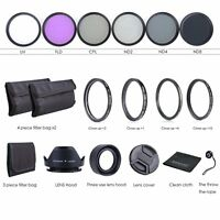 49MM Lens Filter Kit UV CPL FLD + ND 2 4 8 + Macro Close Up Lens Set for Nikon