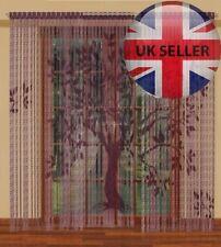 "Fringe Blind Window Net Panel, three element panel-'Tree' ready to hang 106""x98"""