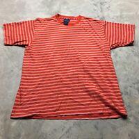 90s VTG STRIPED VAPORWAVE GRUNGE SKATE T Shirt Red L Bold Surf White Blank