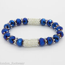 Diamante Crystal Bracelet Glass Beads Rhinestone Stretch Fashion Faceted Gift UK