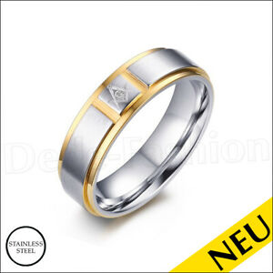 NEU 🌸 Bicolor EDELSTAHL Ring TEMPLER Freimaurer STAINLESS Steel 10 / 62 🌸 316L