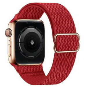 Wave Design Adjustable Stretchy Nylon Strap metal Apple Watch band iWatch SE 6-1