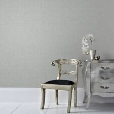 Boutique Grey / Silver Chenille Textured Plain Wallpaper