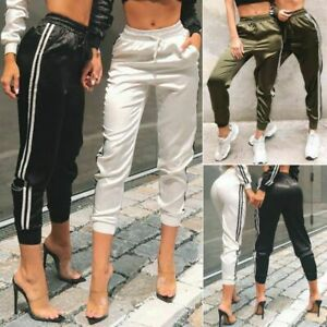 New women's sexy slim straps feature contrast side casual pants