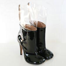 MAISON MARTIN MARGIELA split toe patent leather and clear pvc tabi boots 37 NEW