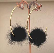 """18K Gold Filled 2.7"""" Earrings Mystic Black Pompon Insert Hooklike Ear Stud HB"""