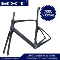2019 New Carbon Road Bike Frame BSA Full Carbon Fiber Frame 700C Framest V brake