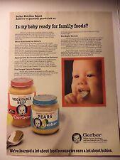 GERBERS BABY FOOD MAGAZINE AD 1983 VEGETABLE BEEF PEARS  FREE SHIP