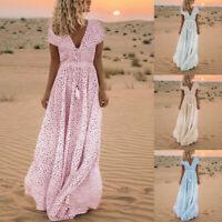 Women Summer Short Sleeve Dress Print Tassels V Neck Long Dress Beach Maxi Dress