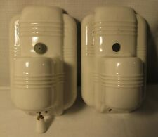 Pair of Vintage White Porcelain Wall Fixtures-Wall Mounted Lights-Pull Chains