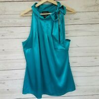 Lane Bryant Womens Plus Size 14/16 Secretary Tie Neck Blue Halter Top Blouse