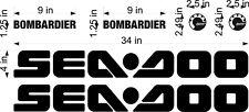 "Sea-Doo Brp Logo / Black / 34"" Set Vinyl Personal Watercraft Replacement Decals"
