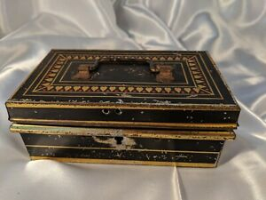 Vintage Hinged Metal Tin Toleware Box w Tray Heart Design Spice Money Jewelry