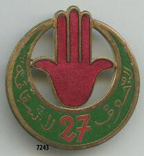 Insigne tirailleurs algériens , 27  RTA. ( grand module ,croissant vert moyen  )