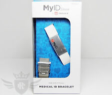 New Endevr MyID Sleek Medical ID Bracelet - White/Silver - One Size Fits All