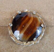 Vintage  Agate brooch vintage costume jewellry 5cm diameter