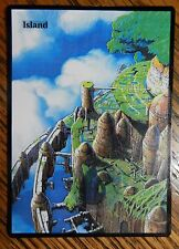Magic the Gathering Basic Land MTG altered art Ghibli Castle in the Sky Island