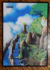 Magic the Gathering Basic Land MTG altered art Ghibli Castle in the Sky Island